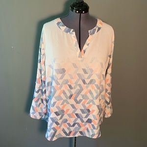 Cato Long Sleeve Split Neck Blouse White Geometric
